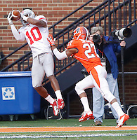 Ohio State Buckeyes wide receiver Philly Brown (10) catches a second quarter TD against Illinois Fighting Illini defensive back Eaton Spence (27) at Memorial Stadium in Champaign, Illinois on November 16, 2013.  (Chris Russell/Dispatch Photo)