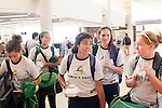 Women's soccer players from Wright State ready to board a flight to Los Angeles at Gate F8 at the Maynard H. Jackson Jr. International Terminal at Hartsfield–Jackson Atlanta International Airport, in Atlanta, Georgia on August 28, 2013.