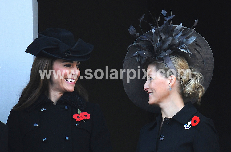 **ALL ROUND PICTURES FROM SOLARPIX.COM**                                             **WORLDWIDE SYNDICATION RIGHTS**                                                                                  Kate Middleton The Duchess of Cambridge and Sophie, Countess of Wessex attend the annual Remembrance Sunday service at the Cenotaph on November 13, 2011 in London                                                                         .This pic:   Rememberance Sunday                                                                                           JOB REF:     14185   LNJ       DATE:  14.11.11                                                          **MUST CREDIT SOLARPIX.COM OR DOUBLE FEE WILL BE CHARGED**                                                                      **MUST AGREE FEE BEFORE ONLINE USAGE**                               **CALL US ON: +34 952 811 768 or LOW RATE FROM UK 0844 617 7637**