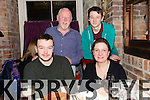 Having a family meal In the Stonehouse on Saturday night to celebrate his 21st birthday was Michael Barrett (birthday boy) his mom Helen Egan .Back L-R Dad Maurice Barrett and David Barrett from the Kerries Tralee.