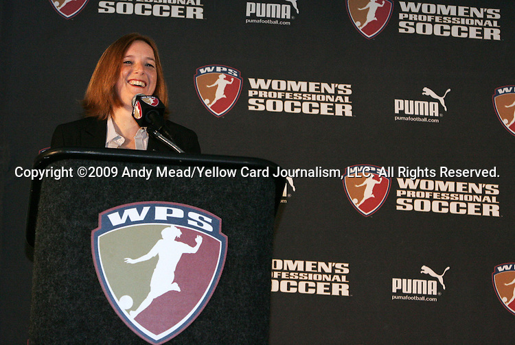 16 January 2009: WPS Commissioner Tonya Antonucci. The 2009 inaugural Womens Pro Soccer (WPS) Draft was held at the Convention Center in St. Louis, Missouri in conjuction with the National Soccer Coaches Association of America's annual convention.