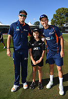 ANZ coin toss winner with Tim Southee and Trent Boult.<br /> New Zealand Blackcaps v England. 5th ODI International one day cricket, Hagley Oval, Christchurch. New Zealand. Saturday 10 March 2018. &copy; Copyright Photo: Andrew Cornaga / www.Photosport.nz