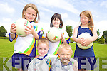 FOOTBALL FUN: Learning new skills at the VHI GAA Cu?l Camp in Beaufort last week were, front l-r: Niall Carey, Oisin Cronin. Back l-r: Tara Clifford, Roisin Kennedy, Maggie Kingston.