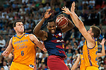 Herbalife Gran Canaria's playes Darko Planinic and Xavi Rabaseda and FC Barcelona Lassa player Joey Dorsey during the final of Supercopa of Liga Endesa Madrid. September 24, Spain. 2016. (ALTERPHOTOS/BorjaB.Hojas)