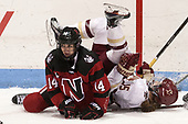 Hayley Scamurra (NU - 14), Erin Connolly (BC - 15) - The Boston College Eagles defeated the Northeastern University Huskies 2-1 to win the Beanpot on Monday, February 7, 2017, at Matthews Arena in Boston, Massachusetts.