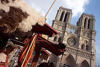 Mediaeval fair in front of Notre Dame de Paris, 12th to 14th century, initiated by the bishop Maurice de Sully, Ile de la Cité, Paris, France Picture by Manuel Cohen