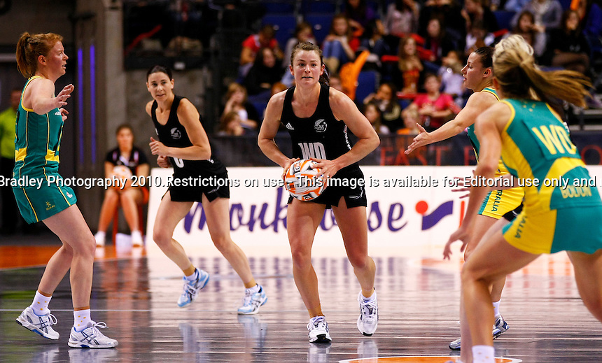 19.11.2010 The Silver Ferns' Charlotte Kight looks to pass against Australia during their match in the World Netball Series in Liverpool, England. Mandatory Photo Credit (Pic: Tim Hales). ©Michael Bradley Photography.