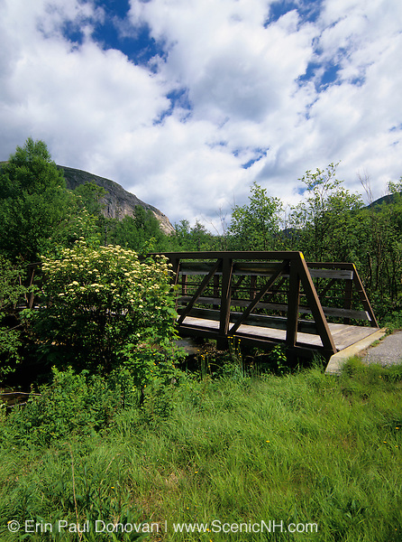 Franconia bike path in Franconia Notch State Park, New Hampshire USA. Cannon Mountain can be seen in the backgorund.