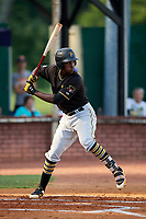 Bristol Pirates third baseman Sherten Apostel (47) at bat during a game against the Elizabethton Twins on July 28, 2018 at Joe O'Brien Field in Elizabethton, Tennessee.  Elizabethton defeated Bristol 5-0.  (Mike Janes/Four Seam Images)