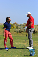 Thomas Bj&oslash;rn (DEN) gives some coaching to Sir Rocco Forte during the first round of the Rocco Forte Sicilian Open played at Verdura Resort, Agrigento, Sicily, Italy 10/05/2018.<br /> Picture: Golffile | Phil Inglis<br /> <br /> <br /> All photo usage must carry mandatory copyright credit (&copy; Golffile | Phil Inglis)