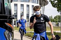 16th May 2020, Gelsenkirchen, Germany; Bundesliga football, Borussia Dortmund versus FC Schalke;   Departure of the FC Schalke 04 team for the game at Borussia Dortmund Jean Clair Todibo FC Schalke 04 with face mask