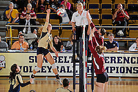 17 November 2011:  FIU outside hitter Marija Prsa (10) hits a kill shot in the first set as the FIU Golden Panthers defeated the Denver University Pioneers, 3-1 (25-21, 23-25, 25-21, 25-18), in the first round of the Sun Belt Conference Tournament at U.S Century Bank Arena in Miami, Florida.