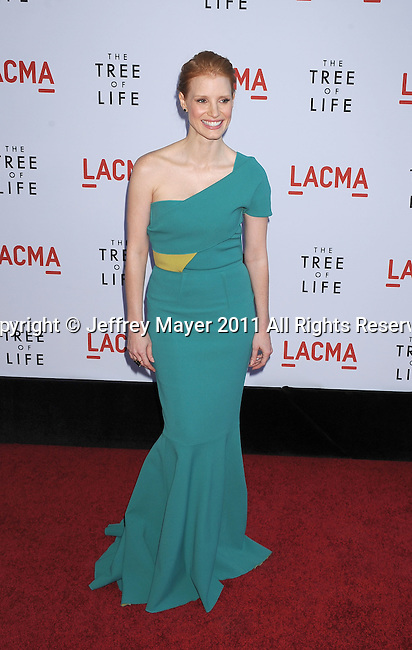 "LOS ANGELES, CA - MAY 24: Jessica Chastain attends ""The Tree Of Life"" Los Angeles Premiere at the Bing Theatre in the Los Angeles County Museum of Art on May 24, 2011 in Los Angeles, California."