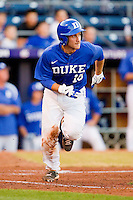 Mike Rosenfeld #15 of the Duke Blue Devils hustles down the first base line against the Virginia Cavaliers at Durham Bulls Athletic Park on April 20, 2012 in Durham, North Carolina.  The Blue Devils defeated the Cavaliers 6-3.  (Brian Westerholt/Four Seam Images)