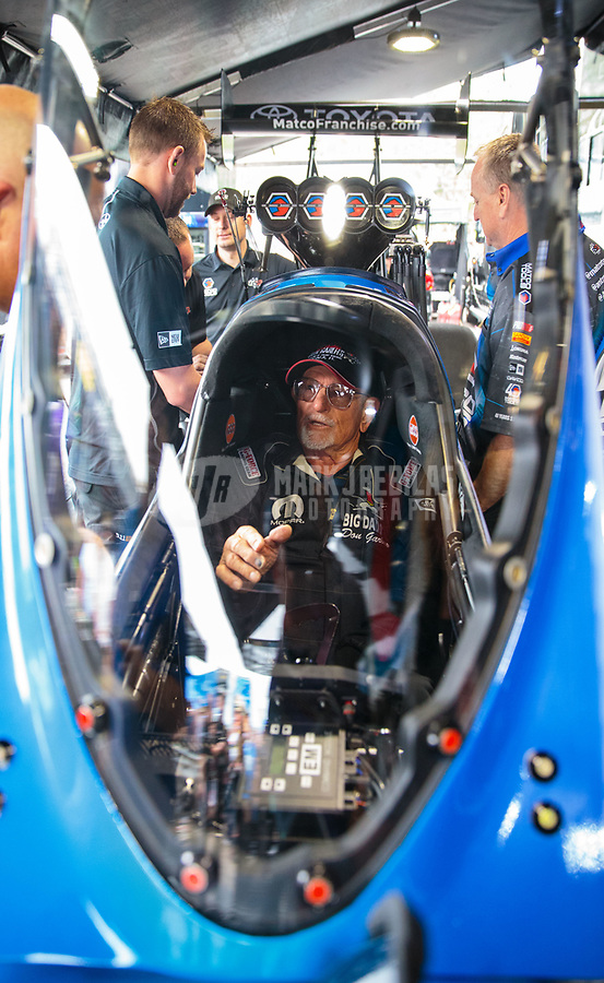 Mar 16, 2019; Gainesville, FL, USA; NHRA former top fuel driver Don Garlits warms up the dragster of Antron Brown (not pictured) during qualifying for the Gatornationals at Gainesville Raceway. Mandatory Credit: Mark J. Rebilas-USA TODAY Sports