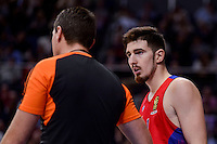 CSKA Moscow Nando de Colo talking with the referee during Turkish Airlines Euroleague match between Real Madrid and CSKA Moscow at Wizink Center in Madrid, Spain. January 06, 2017. (ALTERPHOTOS/BorjaB.Hojas)