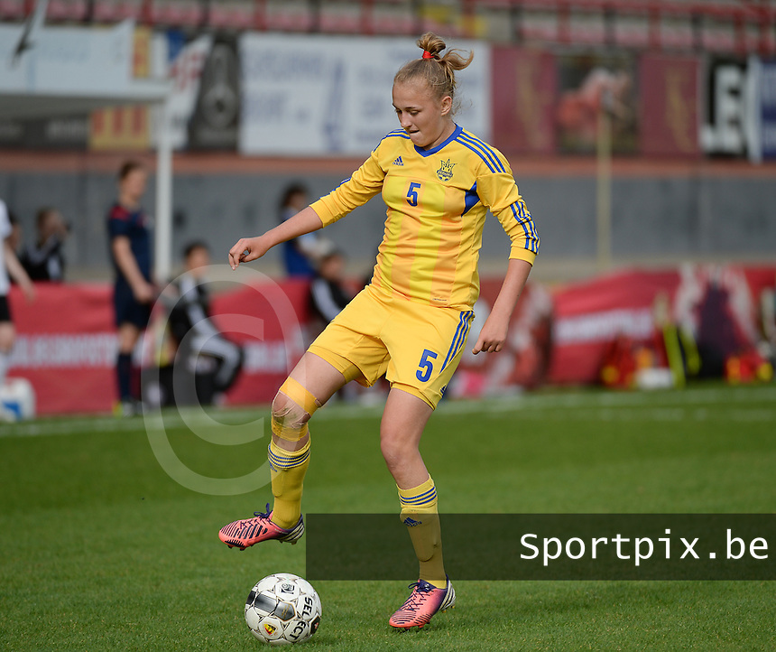 20140407 - BRUSSELS , BELGIUM : Ukrainian Veronika Andrukhiv pictured during the female soccer match between GERMANY U19 and UKRAINE U19 , in the second game of the Elite round in group 4 in the UEFA European Women's Under 19 competition 2014 in the Edmond Machtens Stadion , Monday 7 April 2014 in Brussels . PHOTO DAVID CATRY