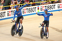 Picture by SWpix.com - 01/03/2018 - Cycling - 2018 UCI Track Cycling World Championships, Day 2 - Omnisport, Apeldoorn, Netherlands - Men's Team Pursuit Finals - Italy celebrate