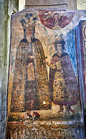 Pictures &amp; images of the interior medieval frescoes. The Eastern Orthodox Georgian Svetitskhoveli Cathedral (Cathedral of the Living Pillar) , Mtskheta, Georgia (country). A UNESCO World Heritage Site.<br /> <br /> Currently the second largest church building in Georgia, Svetitskhoveli Cathedral is a masterpiece of Early Medieval architecture completed in 1029 by Georgian architect Arsukisdze on an earlier site dating back toi the 4th century.