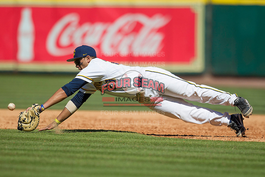 California Golden Bears first baseman Brenden Farney #21 dives and misses a batted ball during the NCAA baseball game against the Baylor Bears on March 1st, 2013 at Minute Maid Park in Houston, Texas. Baylor defeated Cal 9-0. (Andrew Woolley/Four Seam Images).