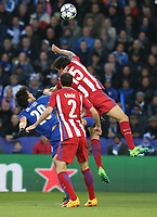Leicester City's Shinji Okazaki battles with Atletico Madrid's Stefan Savic<br /> <br /> Photographer Stephen White/CameraSport<br /> <br /> UEFA Champions League Quarter Final Second Leg - Leicester City v Atletico Madrid - Tuesday 18th April 2017 - King Power Stadium - Leicester <br />  <br /> World Copyright &copy; 2017 CameraSport. All rights reserved. 43 Linden Ave. Countesthorpe. Leicester. England. LE8 5PG - Tel: +44 (0) 116 277 4147 - admin@camerasport.com - www.camerasport.com