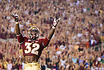 FSU running back James Wilder Jr celebrates a 35 yard run as the 4th ranked Florida State Seminoles defeated the 9th ranked Clemson Tigers 49-37 in NCAA football at Doak Campbell Stadium in Tallahassee, Florida September 22, 2012.