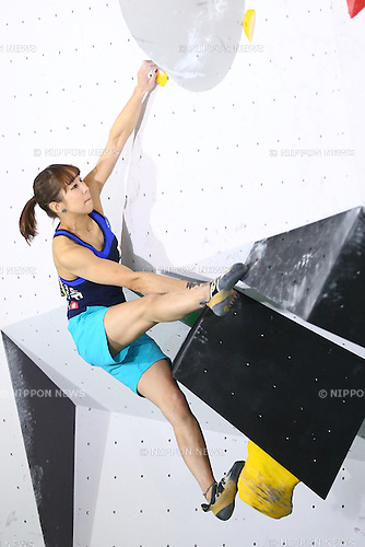 Akiyo Noguchi (JPN), <br /> APRIL 23, 2016 - Sports Climbing : <br /> IFSC Climbing World Cup - Bouldering Kazo 2016 <br /> Women's Qualification <br /> at Kazo Civic Gymnasium, Saitama, Japan. <br /> (Photo by Shingo Ito/AFLO SPORT)