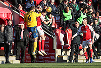 Fleetwood Town's Ashley Nadesan heads under pressure from Charlton Athletic's Krystian Bielik  <br /> <br /> Photographer Andrew Kearns/CameraSport<br /> <br /> The EFL Sky Bet League One - Fleetwood Town v Charlton Athletic - Saturday 2nd February 2019 - Highbury Stadium - Fleetwood<br /> <br /> World Copyright © 2019 CameraSport. All rights reserved. 43 Linden Ave. Countesthorpe. Leicester. England. LE8 5PG - Tel: +44 (0) 116 277 4147 - admin@camerasport.com - www.camerasport.com