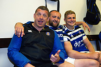 Toby Booth, Tom Dunn and Tom Ellis of Bath Rugby pose for a photo in the changing rooms after the match. Gallagher Premiership match, between Leicester Tigers and Bath Rugby on May 18, 2019 at Welford Road in Leicester, England. Photo by: Patrick Khachfe / Onside Images