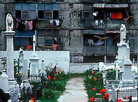 Panama apartment housing in the city of Balboa overlooking cemetery