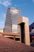 UniSource Energy Tower, Tucson's tallest building, from colorful La Placitas Village.