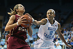 31 January 2013: Florida State's Alexa Deluzio (left) and North Carolina's Latifah Coleman (2). The University of North Carolina Tar Heels played the Florida State University Seminoles at Carmichael Arena in Chapel Hill, North Carolina in an NCAA Division I Women's Basketball game. UNC won the game 72-62.