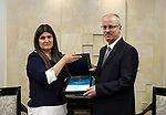 Palestinian Prime Minister Rami Hamdallah receives  the annual report of the Independent Commission on Human Rights for 2017, at his office in the West Bank city of Ramallah on June 14, 2017. Photo by Prime Minister Office