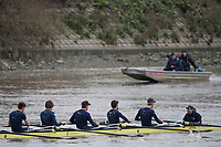 London. United Kingdom,   Strong, winning the 2017. Oxford University, Annual Trial Eights, raced over the Championship Course, Putney to Mortlake. River Thames, <br /> <br /> Wednesday  06/12/2017<br /> <br /> [Mandatory Credit:Peter SPURRIER Intersport Images]<br /> <br /> OUBC Crew Names. <br /> STRONG Black Shirts<br /> Bow. Luke Robinson<br /> 2. Angus Forbes<br /> 3. Nicholas Elkington<br /> 4. Benedict Aldous<br /> 5. Tobias Schroder<br /> 6. Joshua Bugajski<br /> 7. Claas Mertens<br /> Stroke. Felix Drinkall<br /> Cox. Anna Carbery