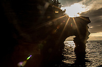 Sea Caves on Devil's Island in the Apostle Islands National Lakeshore near Bayfield Wisconsin.