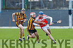 Richard O'Sullivan Kilgarvan takes on Eoin McGrath Russell Rovers during their Munster Junior Championship game in Fitzgerald Stadium on Saturday