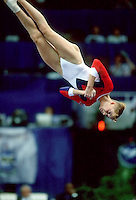 July 26, 1998; New York, NY, USA; Artistic gymnast Svetlana Khorkina of Russia performs floor exercise at 1998  Goodwill Games New York. Copyright 1998 Tom Theobald