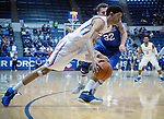 March 4, 2017:   Boise State guard, Chandler Hutchison #15, races past Falcon forward, Ryan Manning #32, during the NCAA basketball game between the Boise State Broncos and the Air Force Academy Falcons, Clune Arena, U.S. Air Force Academy, Colorado Springs, Colorado.  Boise State defeats Air Force 98-70.
