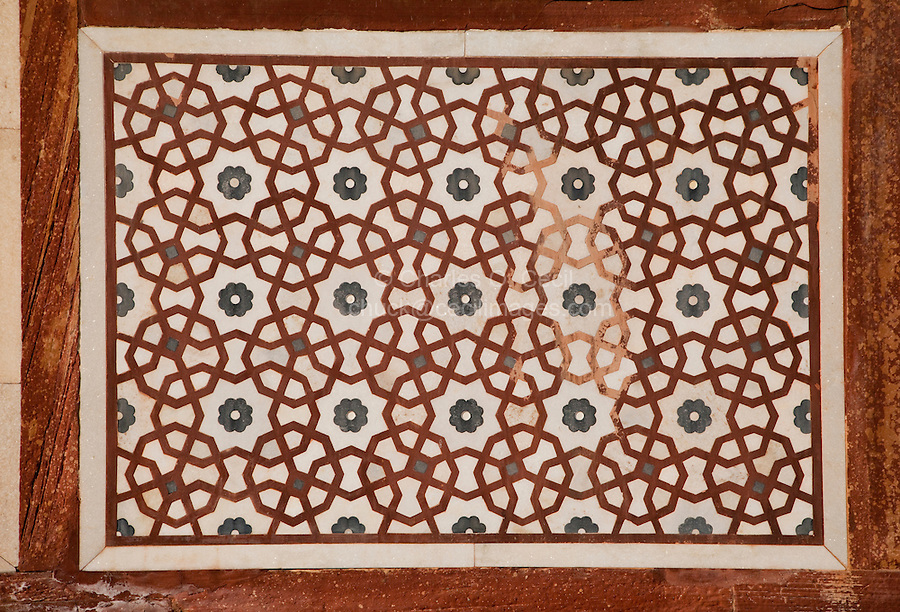 Agra, India.  Inlaid Geometric Pattern in Stonework, North  Pavilion, Gardens of the Itimad-ud-Dawlah.