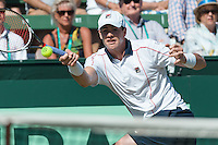 March 6, 2016: John Isner of USA in action against Bernard Tomic of Australia during the first reverse single match of the BNP Paribas Davis Cup World Group first round tie between Australia and USA at Kooyong tennis club in Melbourne, Australia. Photo Sydney Low