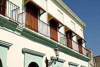 Facade of restored nineteenth century building in old Mazatlan, Sinaloa, Mexico