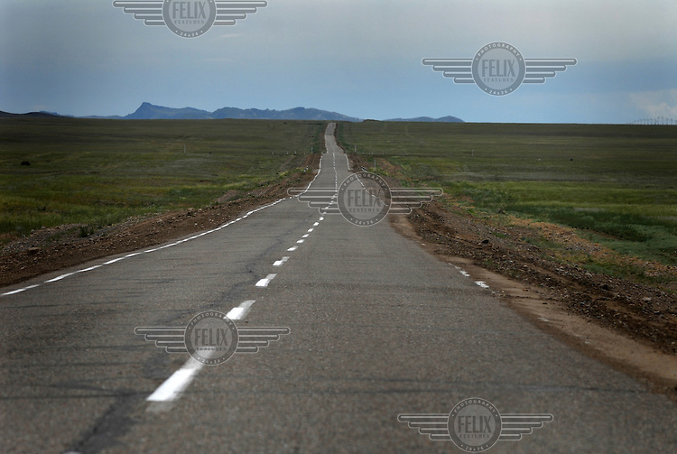 A road across the Tuvan landscape near Kyzyl.