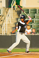 Nick Williams (1) of the Hickory Crawdads at bat against the Kannapolis Intimidators at CMC-Northeast Stadium on July 26, 2013 in Kannapolis, North Carolina.  The Intimidators defeated the Crawdads 2-1.  (Brian Westerholt/Four Seam Images)