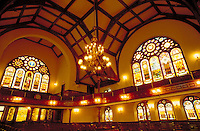 Chandeliers, stained glass windows and unique architecture are highlights of the interior view of the church founded by African-American Richard Allen. Philadelphia Pennsylvania United States.