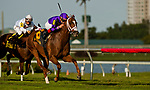 HALLANDALE BEACH, FL - JANUARY 27: Rainbow Heir #6, with Irad Ortiz Jr. riding, wins the Gulfstream Park Turf Sprint Stakes on Pegasus World Cup Invitational Day at Gulfstream Park Race Track on January 27, 2018 in Hallandale Beach, Florida. (Photo by Carson Dennis/Eclipse Sportswire/Getty Images)