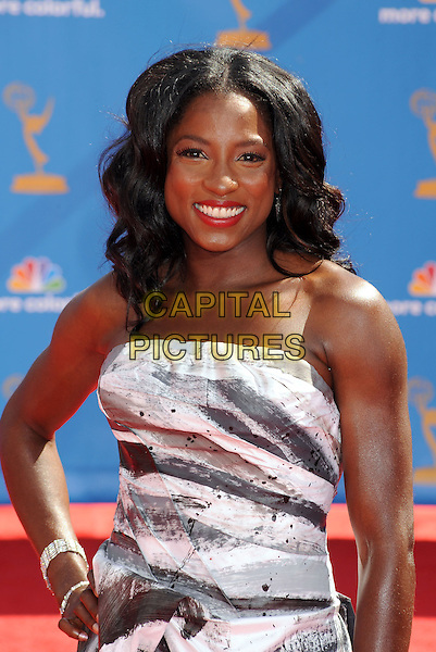 RUTINA WESLEY.The 62nd Annual Primetime Emmy Awards held at the Nokia Theatre L.A. Live in Los Angeles, California, USA..August 29th, 2010.emmys half length silver grey gray silk satin dress gown strapless white grey gray print .CAP/ROT/TM.©Tony Michaels/Roth Stock/Capital Pictures