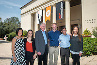 "Oxy student and alum speakers, from left, Sarah Tamashiro '15, Cordelia Kenney '14, Dave Berkus '62, Brian Erickson '16, Adrian Adams '17 and Somer Greene '16. Occidental College hosts TEDxOccidental 2014 in which thought-provoking dialogues about ""Reinventing the American Dream in a Global Age"" took place at the all-day campus event, Saturday, March 29, 2014. (Photo by Marc Campos, Occidental College Photographer)"