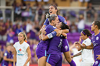 Orlando, FL - Saturday July 15, 2017: Ali Krieger, Alanna Kennedy, Alex Morgan during a regular season National Women's Soccer League (NWSL) match between the Orlando Pride and FC Kansas City at Orlando City Stadium.