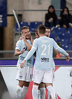 Calcio, Serie A: SS Lazio vs Hellas Verona, Roma, stadio Olimpico, 19 febbraio 2018.<br /> Lazio's Ciro Immobile (l) celebrates with his teammates after scoring his second goal in the match during the Italian Serie A football match between SS Lazio and Hellas Verona at Rome's Olympic stadium, February 19, 2018.<br /> UPDATE IMAGES PRESS/Isabella Bonotto