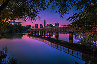 The Boardwalk Trail Bridge on Lady Bird Lake scenic skyline view  - Stock Photo Image Gallery